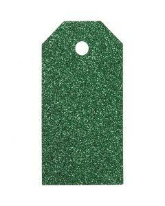Geschenkanhänger, Größe 5x10 cm, Glitter, 300 g, Grün, 15 Stck./ 1 Pck.