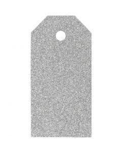 Geschenkanhänger, Größe 5x10 cm, Glitter, 300 g, Silber, 15 Stck./ 1 Pck.
