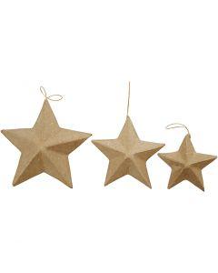 Sterne, D: 7,5+10+12,5 cm, 6 Stck./ 1 Pck.