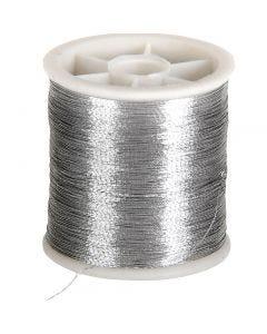 Nähgarn, Stärke: 0,15 mm, Silber, 100 m/ 1 Rolle