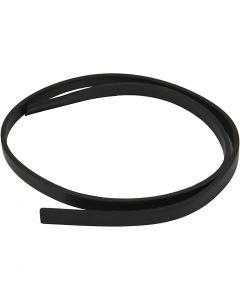 Lederband Imitat, B: 10 mm, Stärke: 3 mm, Schwarz, 1 m/ 1 Pck.