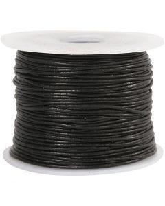 Lederband, Stärke: 1 mm, Schwarz, 50 m/ 1 Rolle