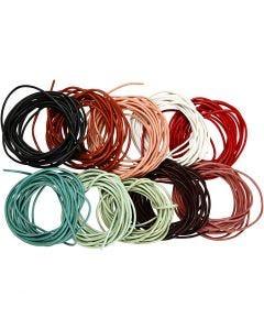 Lederband, Stärke: 2 mm, Sortierte Farben, 10x3 m/ 1 Pck.