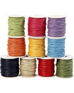 Baumwollkordel, Dicke 2 mm, Kräftige Farben, 10x25 m/ 1 Pck.