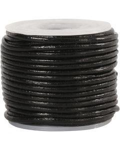 Lederband, Stärke: 1 mm, Schwarz, 10 m/ 1 Rolle