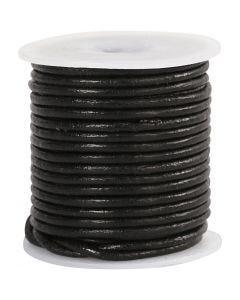 Lederband, Stärke: 2 mm, Schwarz, 10 m/ 1 Rolle