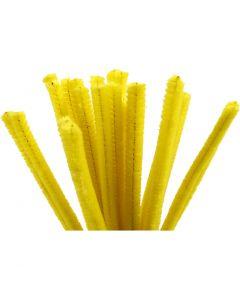Pfeifenreiniger, L: 30 cm, Stärke: 9 mm, Gelb, 25 Stck./ 1 Pck.
