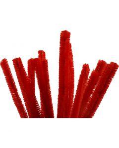 Pfeifenreiniger, L: 30 cm, Stärke: 15 mm, Rot, 15 Stck./ 1 Pck.