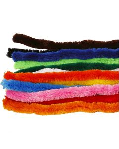 Pfeifenreiniger, Dick, L: 45 cm, Stärke: 25 mm, Sortierte Farben, 60 sort./ 1 Pck.