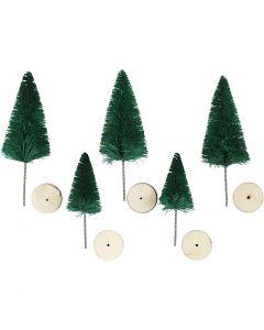 Weihnachtsbäume, H: 40+60 mm, Grün, 5 Stck./ 1 Pck.