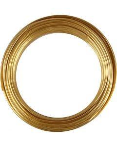 Aluminiumdraht, rund, Stärke: 3 mm, Gold, 29 m/ 1 Rolle