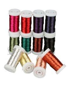 Weicher Schmuckdraht, Sortiment , Stärke: 0,5 mm, Sortierte Farben, 12x50 m/ 1 Pck.