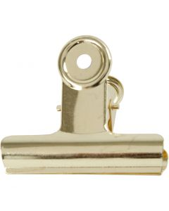 Bulldog-Klammer aus Messing, B: 7,5 cm, Messing, 6 Stck./ 1 Pck.