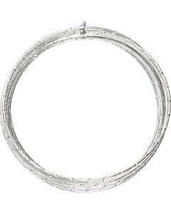 Aluminiumdraht, diamond-cut, Stärke: 2 mm, Silber, 7 m/ 1 Rolle