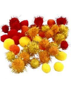 Pompons, D: 15+20 mm, Orange, Rot, Gelb, 48 sort./ 1 Pck.