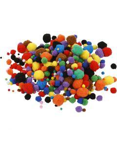 Pompons, D: 5-40 mm, Sortierte Farben, 42 g/ 1 Pck.