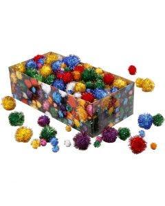 Glitzer-Pompons, D: 15-40 mm, Glitter, Kräftige Farben, 400 g/ 1 Pck.