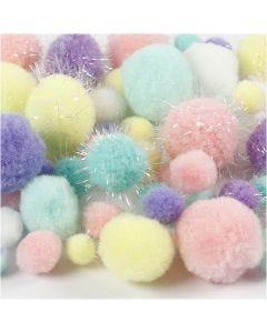 Pompons, D: 15-40 mm, Glitter, Pastellfarben, 62 g/ 1 Pck.