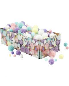 Pompons, D: 15-40 mm, Glitter, Pastellfarben, 400 g/ 1 Pck.