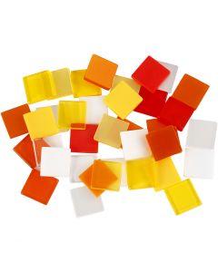 Mini-Mosaik, Größe 10x10 mm, Harmonie in Rot-Orange, 25 g/ 1 Pck.