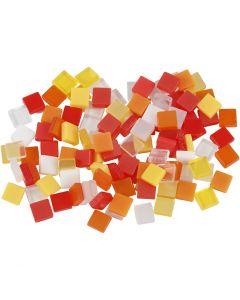 Mini-Mosaik, Größe 5x5 mm, Harmonie in Rot-Orange, 25 g/ 1 Pck.