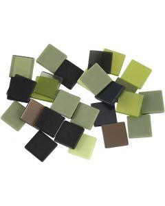 Mini-Mosaik, Größe 10x10 mm, Grün mit Glitter, 25 g/ 1 Pck.