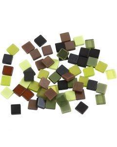 Mini-Mosaik, Größe 5x5 mm, Grün mit Glitter, 25 g/ 1 Pck.
