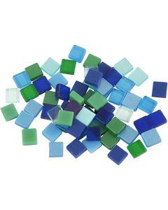 Mini-Mosaik, Größe 5x5 mm, Harmonie in Blau-Grün, 25 g/ 1 Pck.