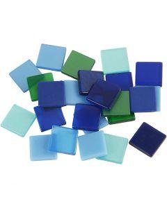 Mini-Mosaik, Größe 10x10 mm, Harmonie in Blau-Grün, 25 g/ 1 Pck.