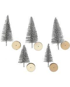 Weihnachtsbäume, H: 40+60 mm, Silber, 5 Stck./ 1 Pck.