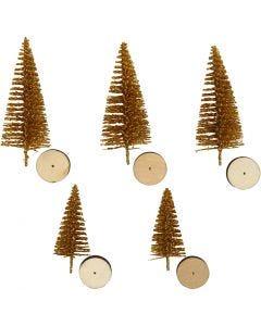 Weihnachtsbäume, H: 40+60 mm, Gold, 5 Stck./ 1 Pck.