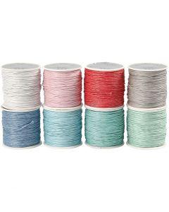 Baumwollband, Stärke: 1 mm, Sortierte Farben, 8x40 m/ 1 Pck.
