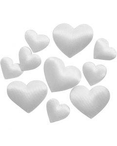 Satin-Herzen, Größe 10+20 mm, Weiß, 70 Stck./ 1 Pck.