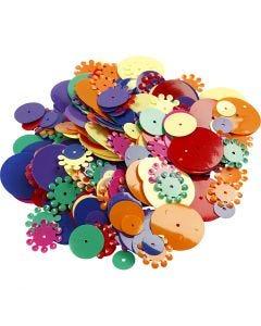 Pailletten - Sortiment, rund, Größe 10-25 mm, Sortierte Farben, 35 g/ 1 Pck.