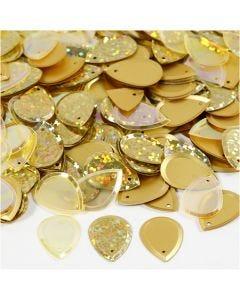 Pailletten, Regentropfen, Größe 14x19 mm, Gold, 50 g/ 1 Pck.