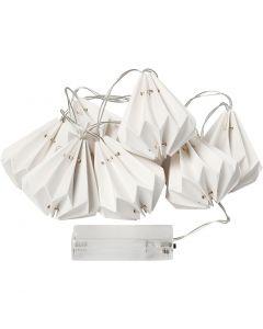 LED-Lichterkette mit Lampions, H: 80 mm, L: 100 cm, D: 65 mm, Weiß, 1 Stck.