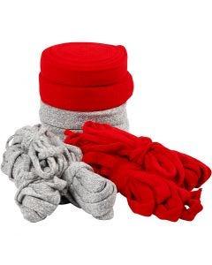 Strickschlauch, B: 10-40 mm, Inhalt kann variieren , Grau, Rot, 50 m/ 1 Pck.