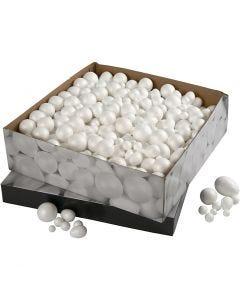 Styropor-Kugeln und -Eier, Größe 1,5-6,1 cm, Weiß, 550 Stck./ 1 Pck.