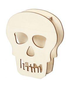 Halloween-Figur, Totenkopf, H: 13,5 cm, Tiefe 3 cm, B: 11,5 cm, 1 Stk