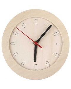 Uhr mit Holzrahmen, D: 15 cm, 1 Stck.
