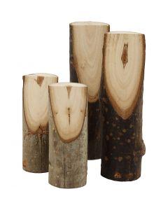 Kurze Holzäste mit schräger Schnittkante, H: 8+12 cm, D: 2,5-3,5 cm, 4 Stck./ 1 Pck.