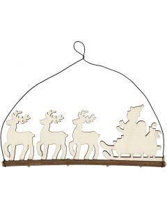 Weihnachtsschmuck, Schlitten mit Rentieren, H: 8 cm, Tiefe 0,5 cm, B: 22 cm, 1 Stck.