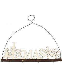 Weihnachtsschmuck, Schriftzug XMAS, H: 7 cm, Tiefe 0,5 cm, B: 22 cm, 1 Stck.