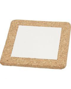 Untersetzer mit Korkrahmen, Größe 15,5x15,5x1 cm, Weiß, 10 Stck./ 1 Box