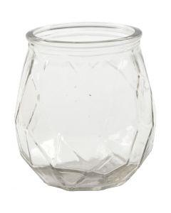 Glas-Kerzenbehälter, H: 10,5 cm, D: 9,5 cm, Lochgröße 7,3 cm, 6 Stck./ 1 Box