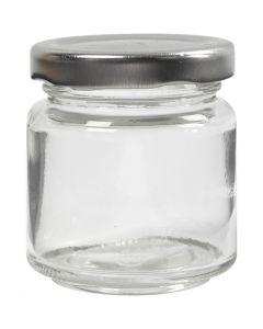 Aufbewahrungsglas, H: 6,5 cm, D: 5,7 cm, 100 ml, Transparent, 12 Stck./ 1 Box