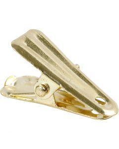 Deko-Klammer, L: 27 mm, B: 14 mm, Gold, 10 Stck./ 1 Pck.