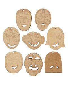 Masken-Anhänger, Größe 5,5-7 cm, Stärke: 4 mm, 24 Stck./ 1 Pck.