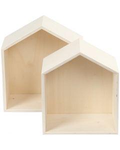 Aufbewahrungskästen, Häuser, H: 22,5+25 cm, Tiefe 12,5 cm, B: 19,5+22,5 cm, 2 Stck./ 1 Set