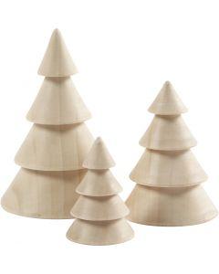 Weihnachtsbäume aus Holz, H: 5+7,5+10 cm, D: 3,5+5,4+6,7 cm, 3 Stck./ 1 Pck.